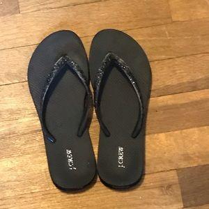 Black Glitter Flip Flops